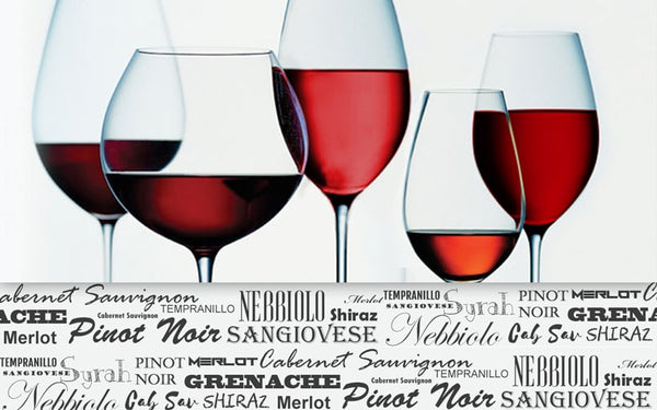 Different red wine types in glas