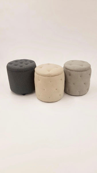 Tufted Round Slate Grey