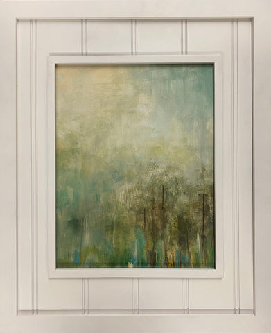 White framed green art