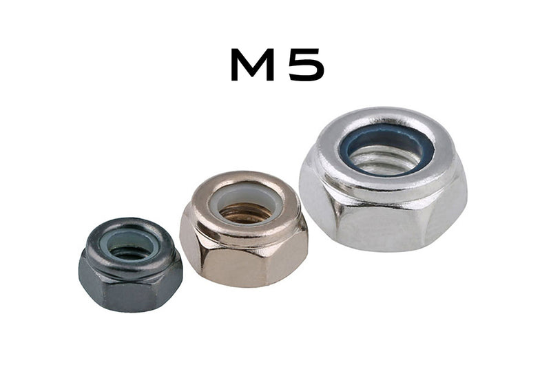 M5 Carbon Steel Nylon Lock Nut DIN6926 White Zinc Plated
