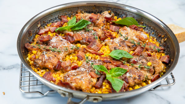 Cream Corn Bacon Chicken in All Clad Stainless Steel Frying Pan