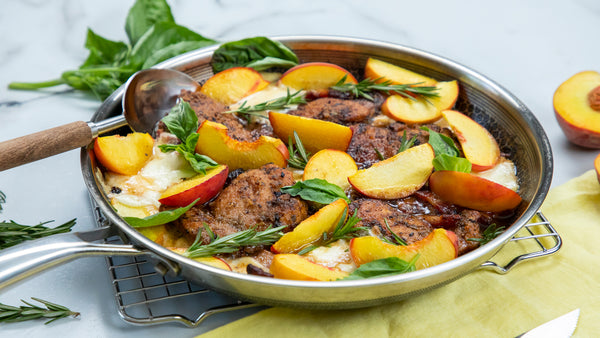 Rosemary Mozzarella Peach Chicken made in Stainless Steel Pan by HexClad