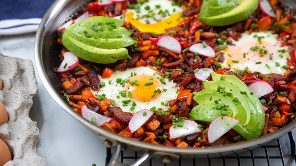 Bacon and Egg Sweet Potato Breakfast Hash made in Stainless Steel Frying Pan by HexClad