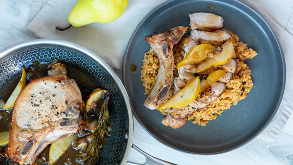 Honey Glazed Pork Chop With Spanish Rice in All Clad Stainless Steel Frying Pan