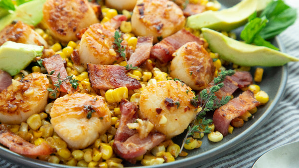 Seared Garlic Scallops with Butter Corn, Bacon and Avocado