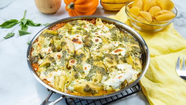 Pumpkin Pesto Ricotta Cheese-Stuffed Pasta Shells cooked in a Stainless Steel Pan