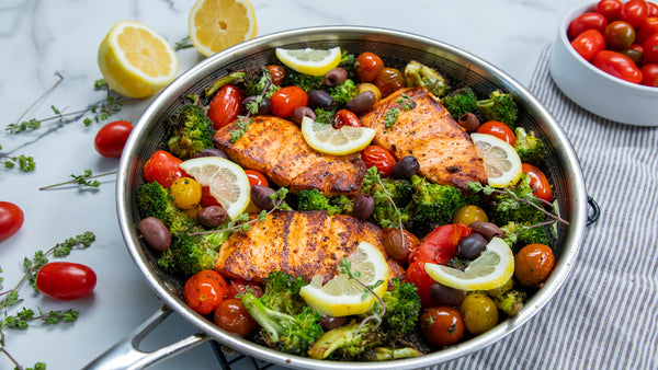 Sicilian Salmon with Garlic Broccoli and Tomatoes in All Clad Stainless Steel Pan by HexClad
