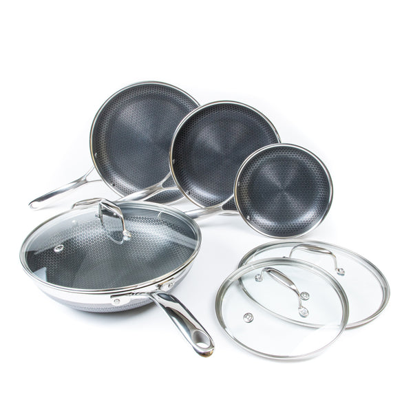 7pc Stainless Steel HexClad Hybrid Cookware Set w/ Lids & Wok