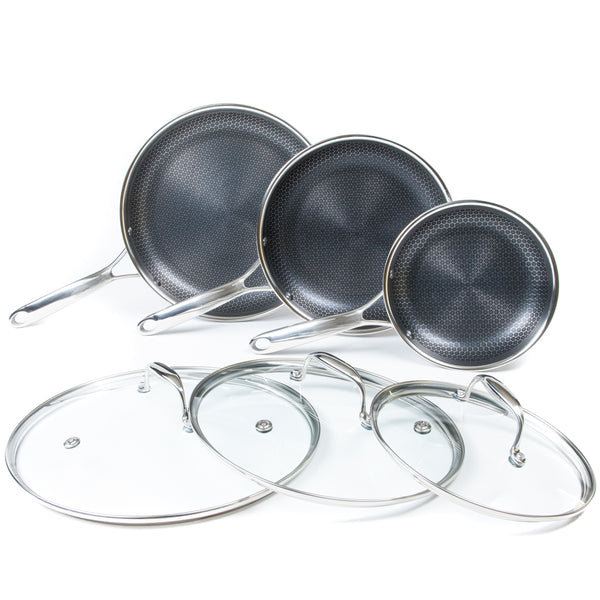6pc All Clad Stainless Steel HexClad Hybrid Cookware Set w/ Lids