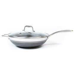 "12"" All Clad Stainless Steel Hybrid Wok with Lid"