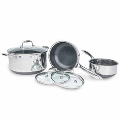 All Clad Stainless Steel HexClad Hybrid Pan with Lid