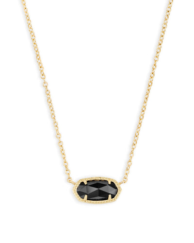 Elisa Gold Pendant Necklace in Black Opaque Glass
