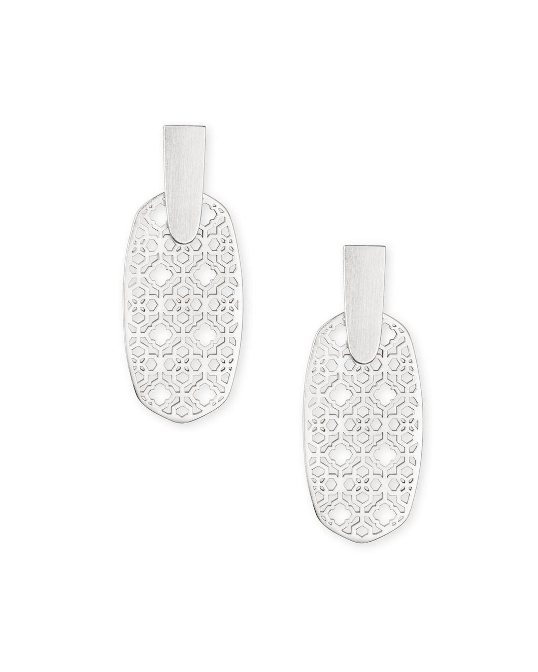 Aragon Bright Silver Drop Earrings in Bright Silver Filigree