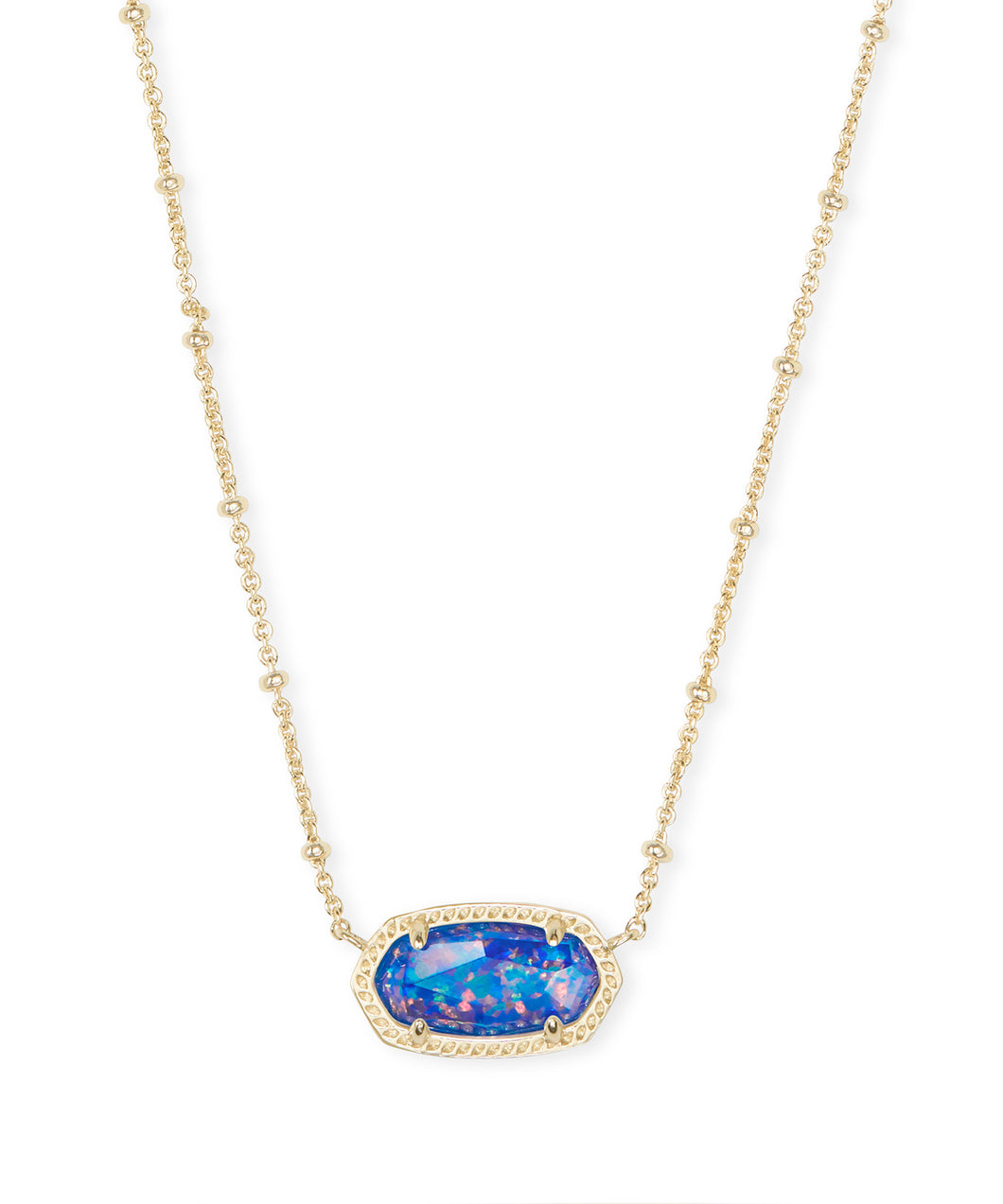 Elisa Gold Satellite Pendant Necklace in Indigo Kyocera Opal Illusion