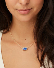 Load image into Gallery viewer, Elisa Gold Satellite Pendant Necklace in Indigo Kyocera Opal Illusion
