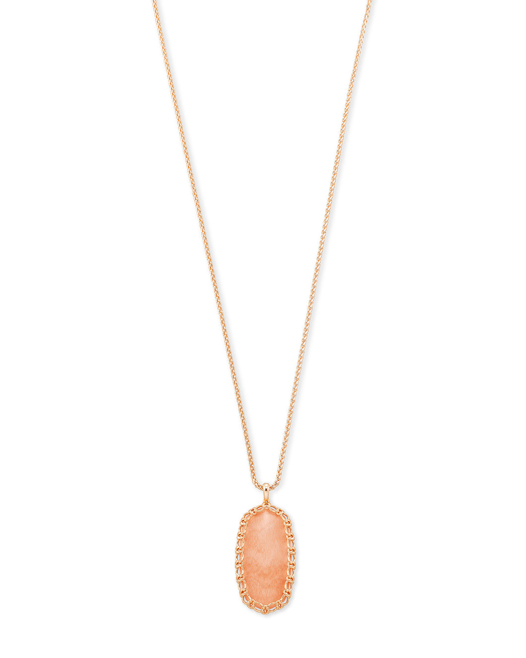 Macrame Reid Rose Gold Long Pendant Necklace In Blush Wood