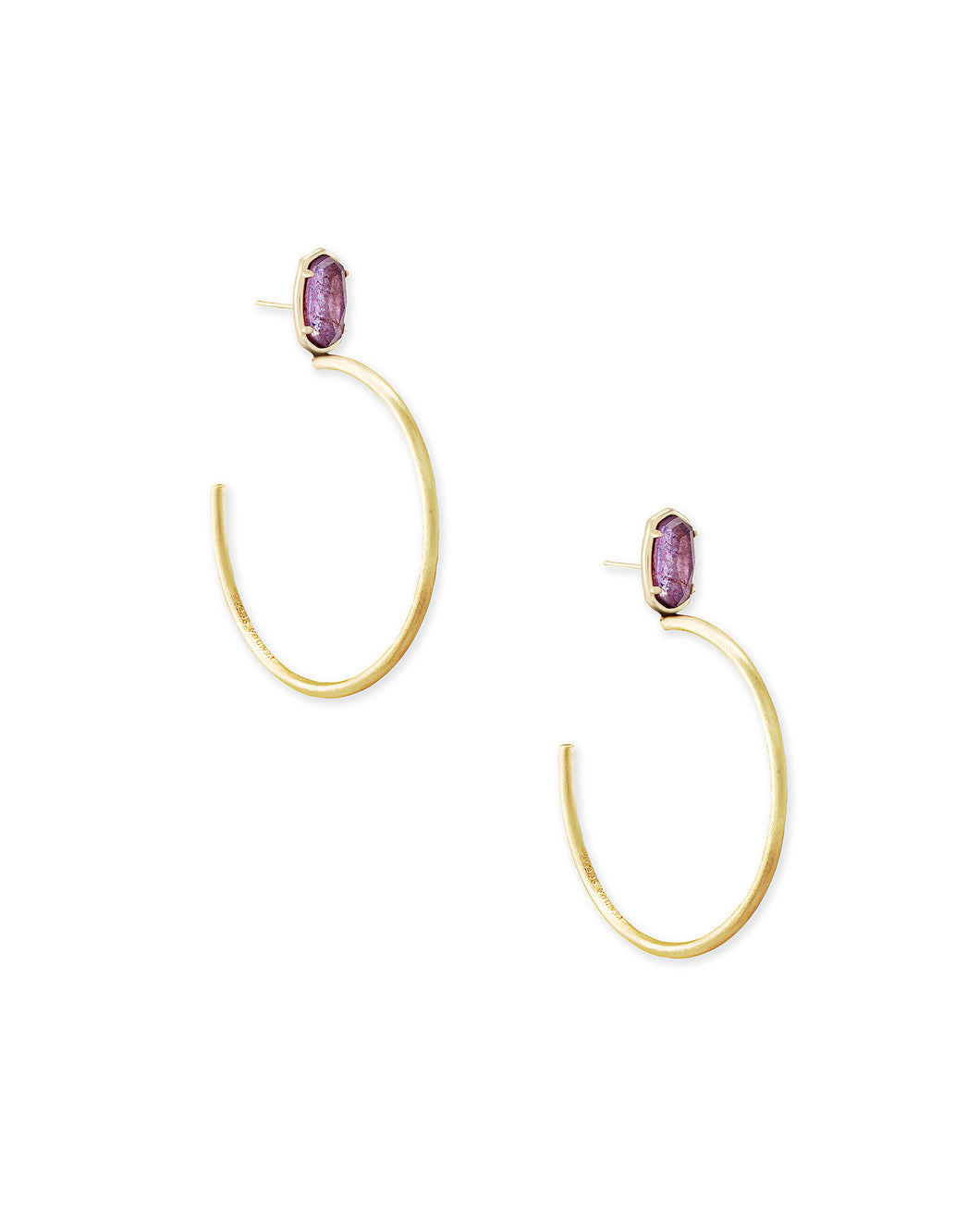 Small Pepper Gold Hoop Earrings in Purple Mica