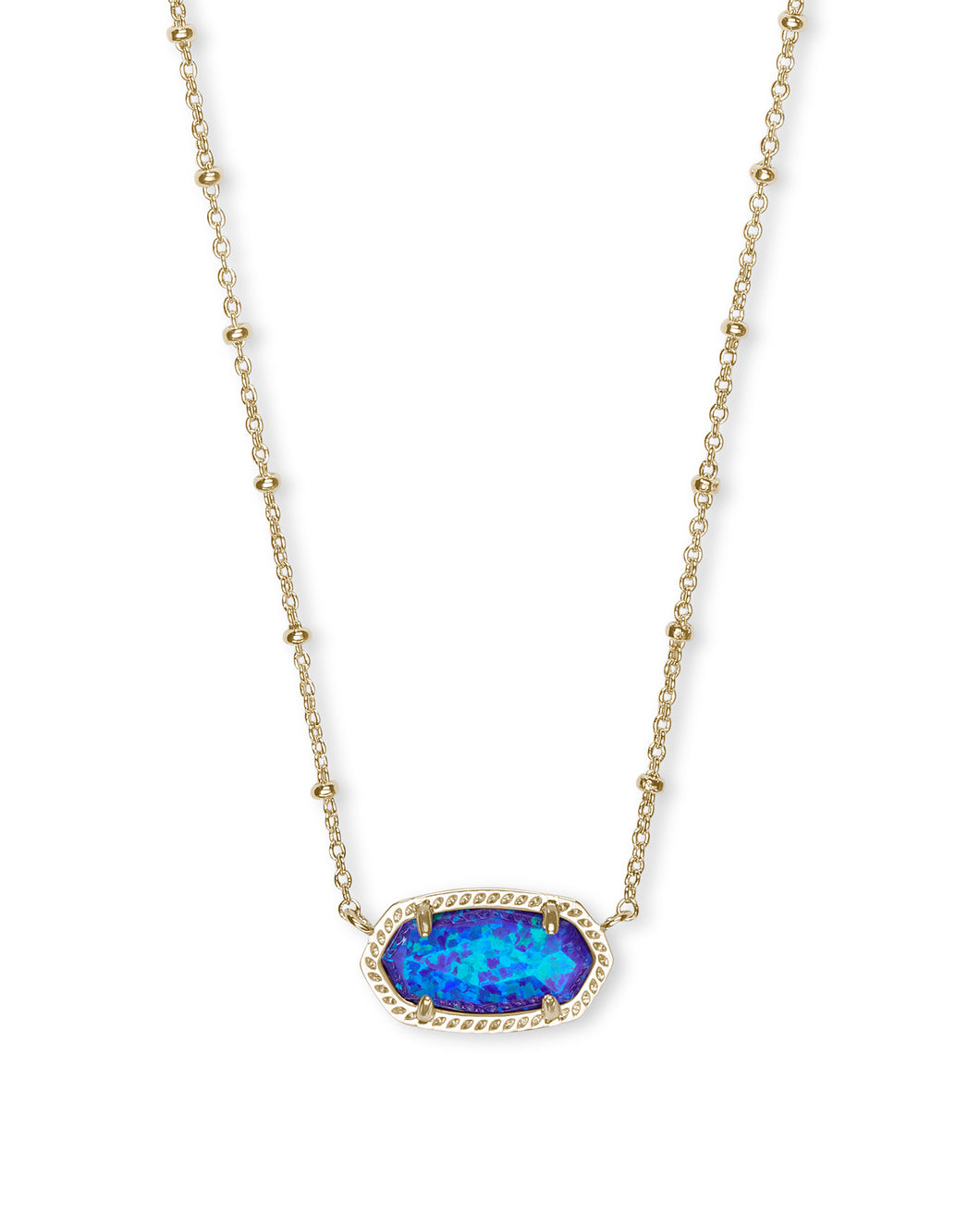 Elisa Satellite Gold Short Pendant Necklace In Violet Kyocera Opal
