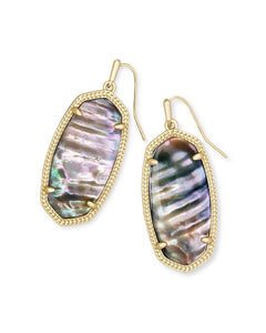 Elle Gold Drop Earrings In Nude Abalone