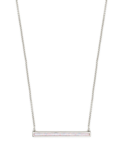 Kelsey Silver Pendant Necklace in White Kyocera Opal
