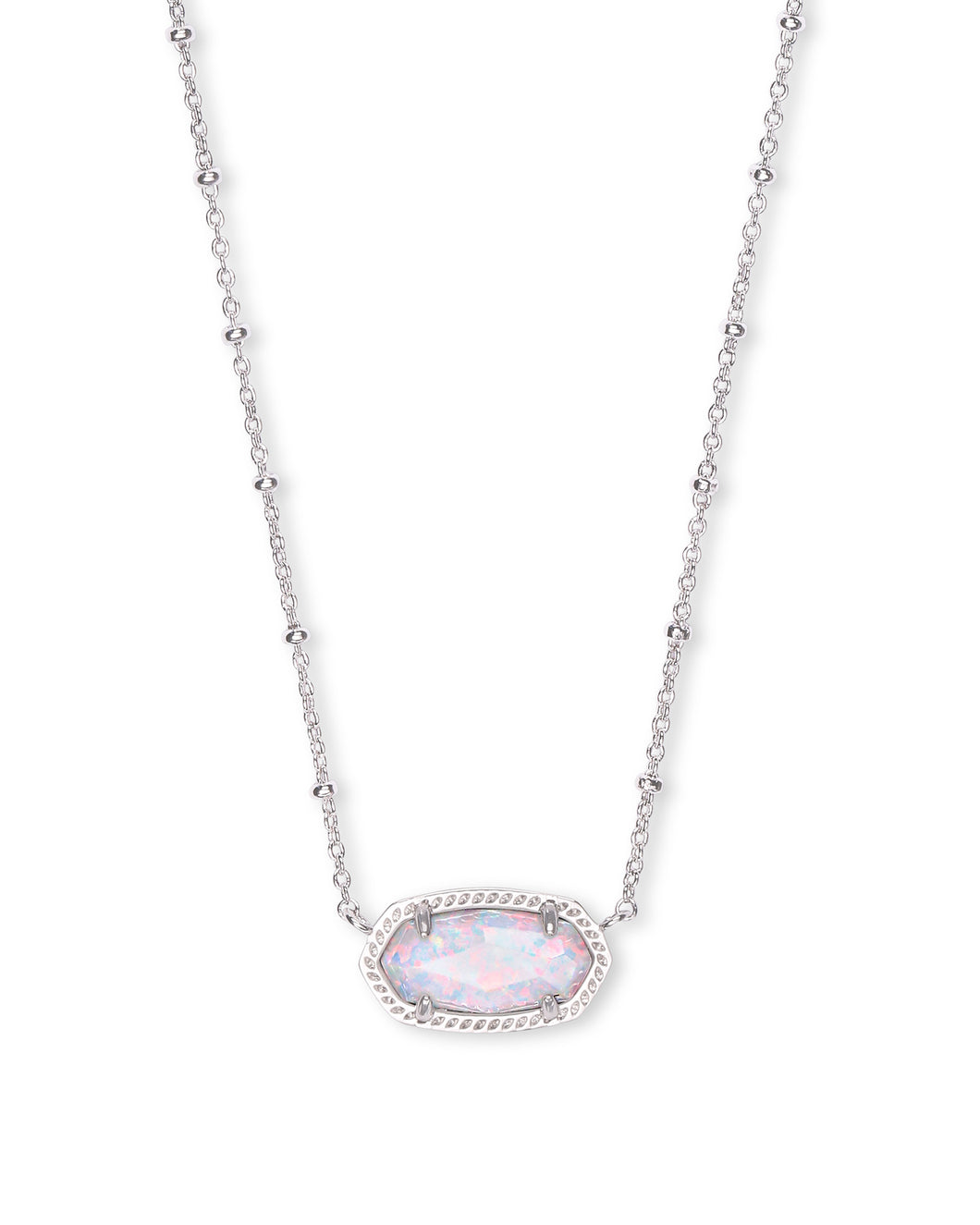 Elisa Satellite Silver Short Pendant Necklace In White Kyocera Opal