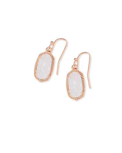 Lee Rose Gold Drop Earrings in Iridescent Drusy