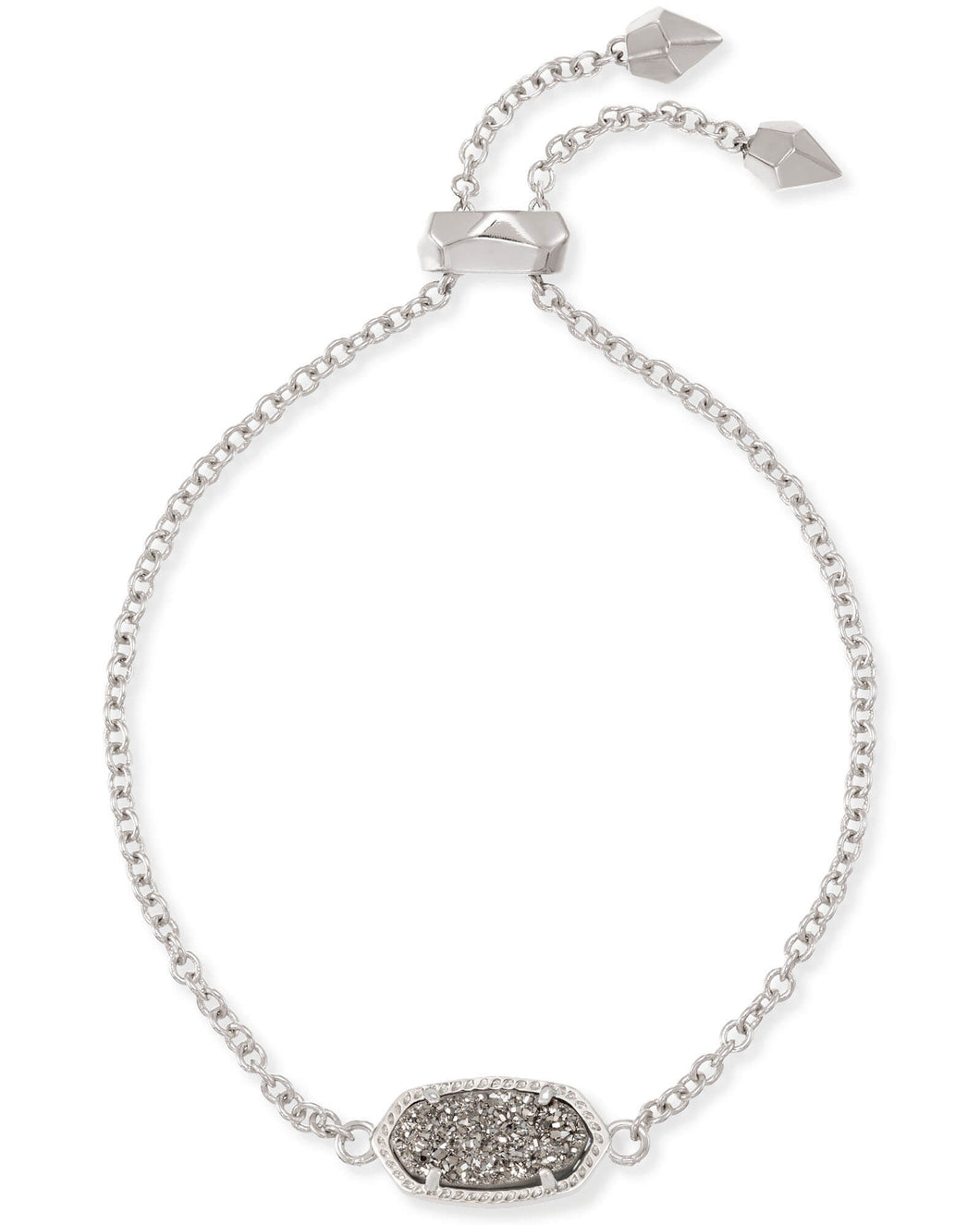 Elaina Silver Adjustable Chain Bracelet in Platinum Drusy