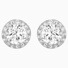 Load image into Gallery viewer, ANGELIC PIERCED EARRINGS, WHITE, RHODIUM PLATED