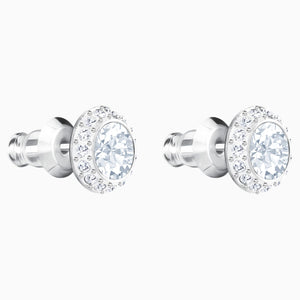 ANGELIC PIERCED EARRINGS, WHITE, RHODIUM PLATED