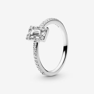 Sparkling Square Halo Ring