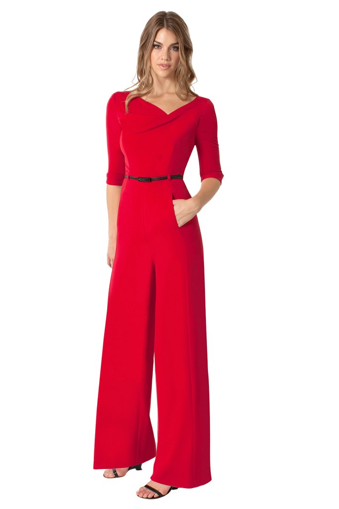Black Halo 3/4 Sleeve Jackie O Jumpsuit  - Red