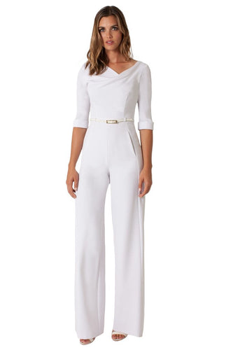 Black Halo 3/4 Sleeve Jackie O Jumpsuit  - White