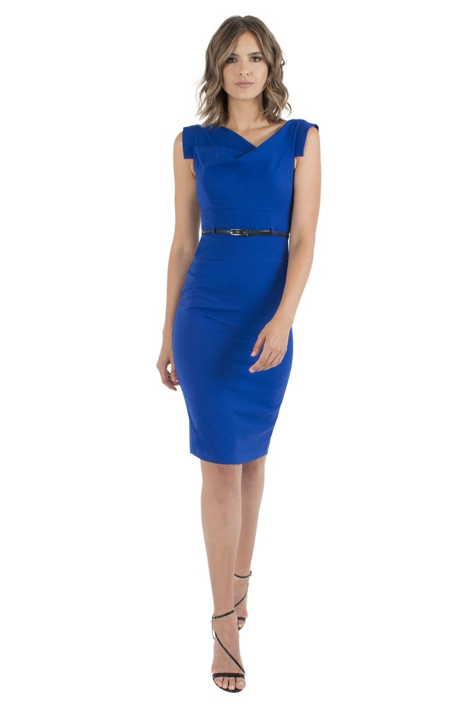 Black Halo Classic Jackie O Dress - Cobalt Blue