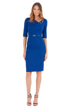 Load image into Gallery viewer, Black Halo 3/4 Sleeve Jackie O Dress - Cobalt Blue