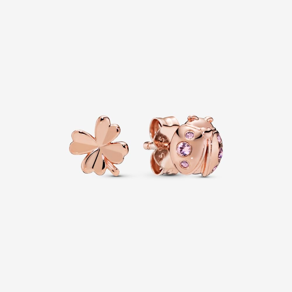 Clover and Ladybird Stud Earrings