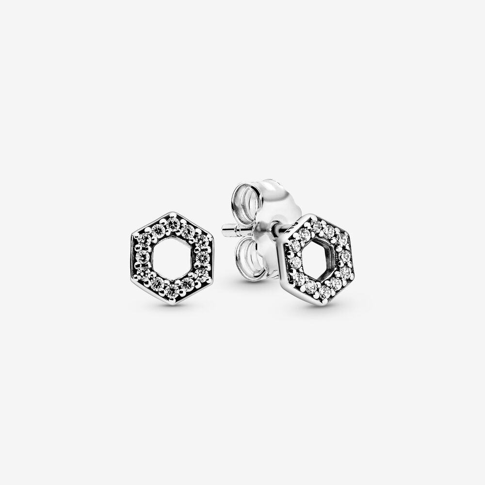 Sparkling Honeycomb Hexagon Stud Earrings