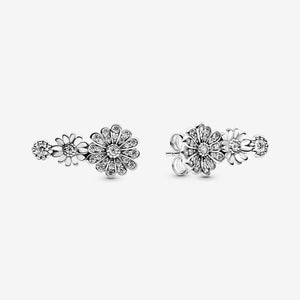 Sparkling Daisy Flower Trio Stud Earrings