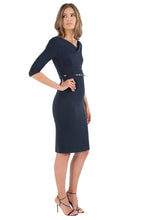 Load image into Gallery viewer, Black Halo 3/4 Sleeve Jackie O Dress - Eclipse