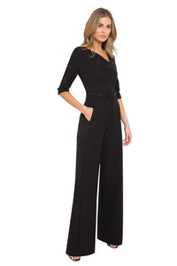 Black Halo 3/4 Sleeve Jackie O Jumpsuit  - Black