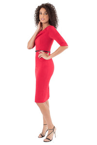 Black Halo 3/4 Sleeve Jackie O Dress - Red
