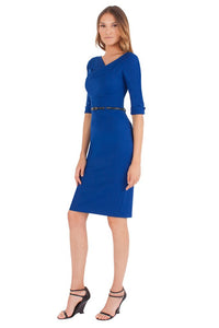 Black Halo 3/4 Sleeve Jackie O Dress - Cobalt Blue