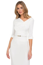 Load image into Gallery viewer, Black Halo 3/4 Sleeve Jackie O Dress - White