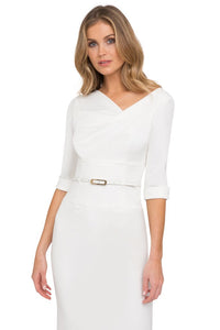 Black Halo 3/4 Sleeve Jackie O Dress - White