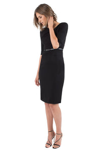 Black Halo 3/4 Sleeve Jackie O Dress - Black