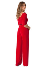 Load image into Gallery viewer, Black Halo 3/4 Sleeve Jackie O Jumpsuit  - Red