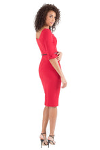 Load image into Gallery viewer, Black Halo 3/4 Sleeve Jackie O Dress - Red