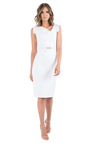 Black Halo Classic Jackie O Dress - White