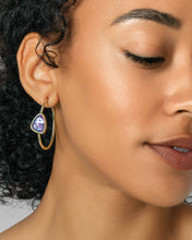 Load image into Gallery viewer, Margot Gold Hoop Earrings in Lilac Abalone
