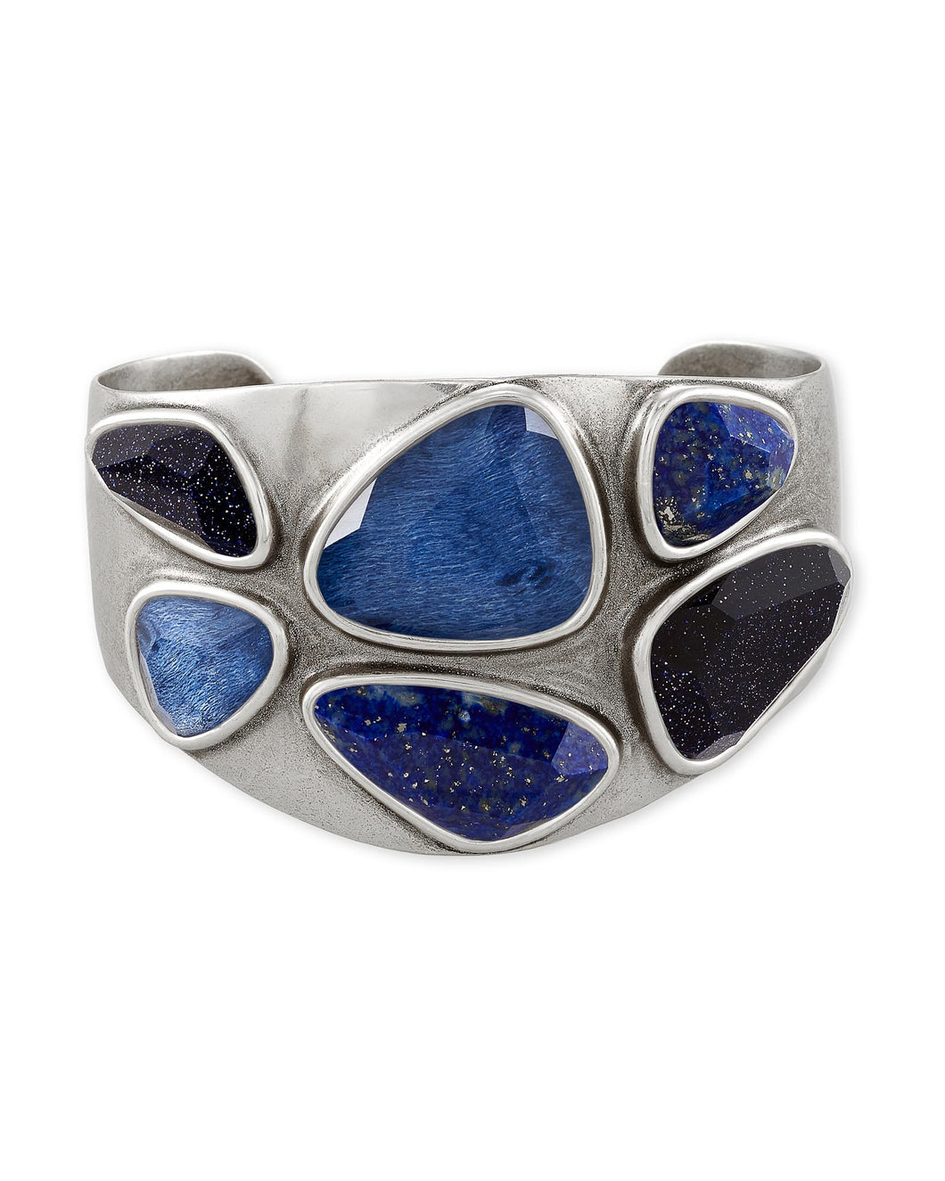 Margot Vintage Silver Statement Cuff Bracelet in Navy Mix