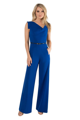 Black Halo Jackie O Jumpsuit  - Cobalt Blue